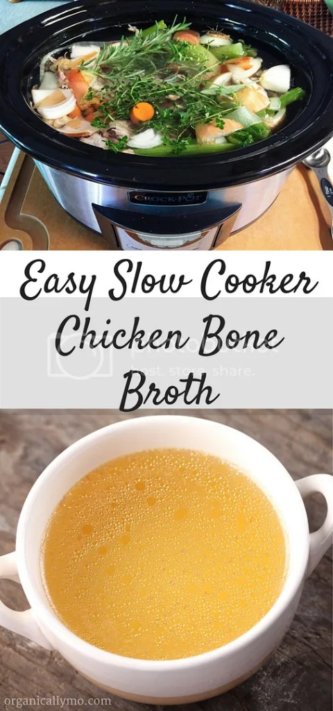 Easy Slow Cooker Chicken Bone Broth via Organically Mo