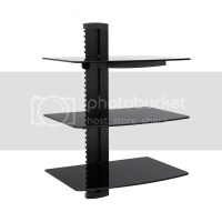 3-tier Adjustable Component Wall Mount Shelf Glass ...