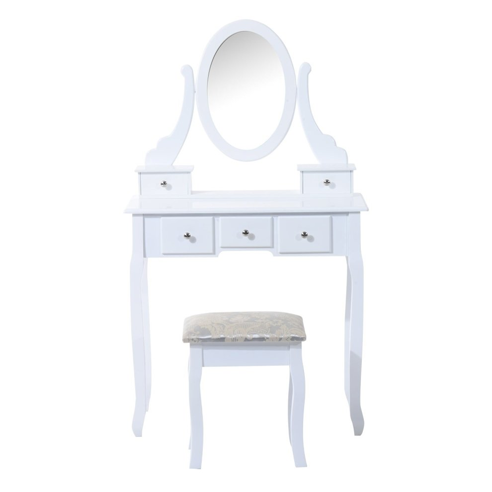 Cosmetic Table Homcom Dressing Table Set Mirror Makeup Furniture Cosmetic Storage W 5 Drawers