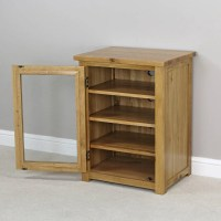New London Solid Oak Hifi Media Unit Storage Cabinet ...