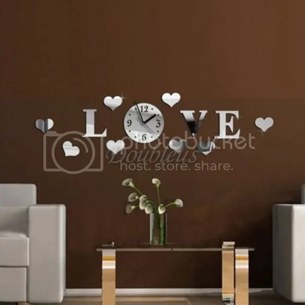3D DIY Mirror Wall Clock Crystal Living Room sticker Digital - living room clock