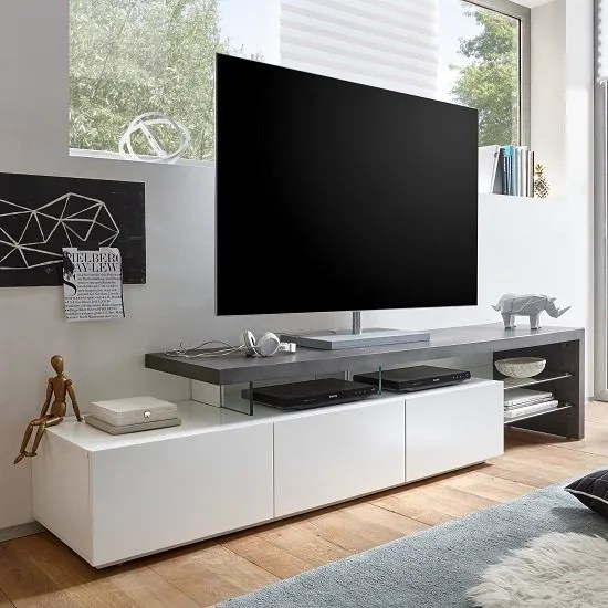 Tv Sideboard Modern Modanuvo Large White Grey Concrete Solid Oak Glass Modern ...