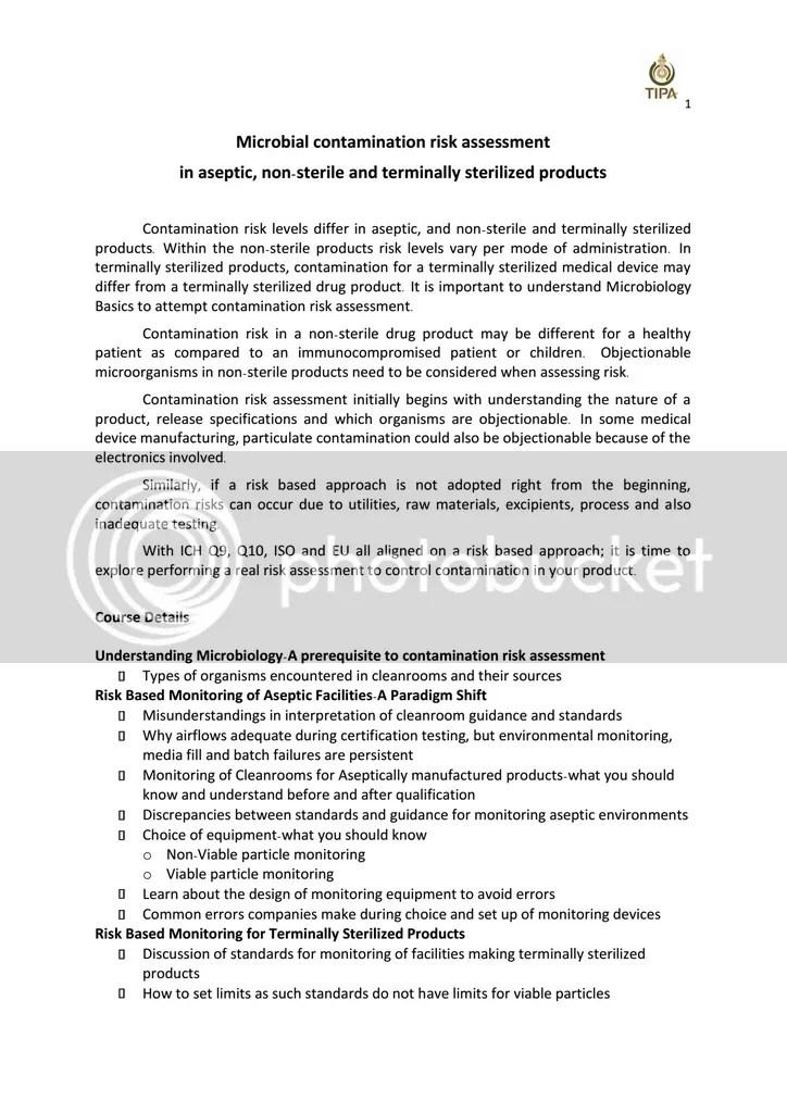 TIPA - สมาคมเภสัชกรอุตสาหการ (ประเทศไทย) - product risk assessment
