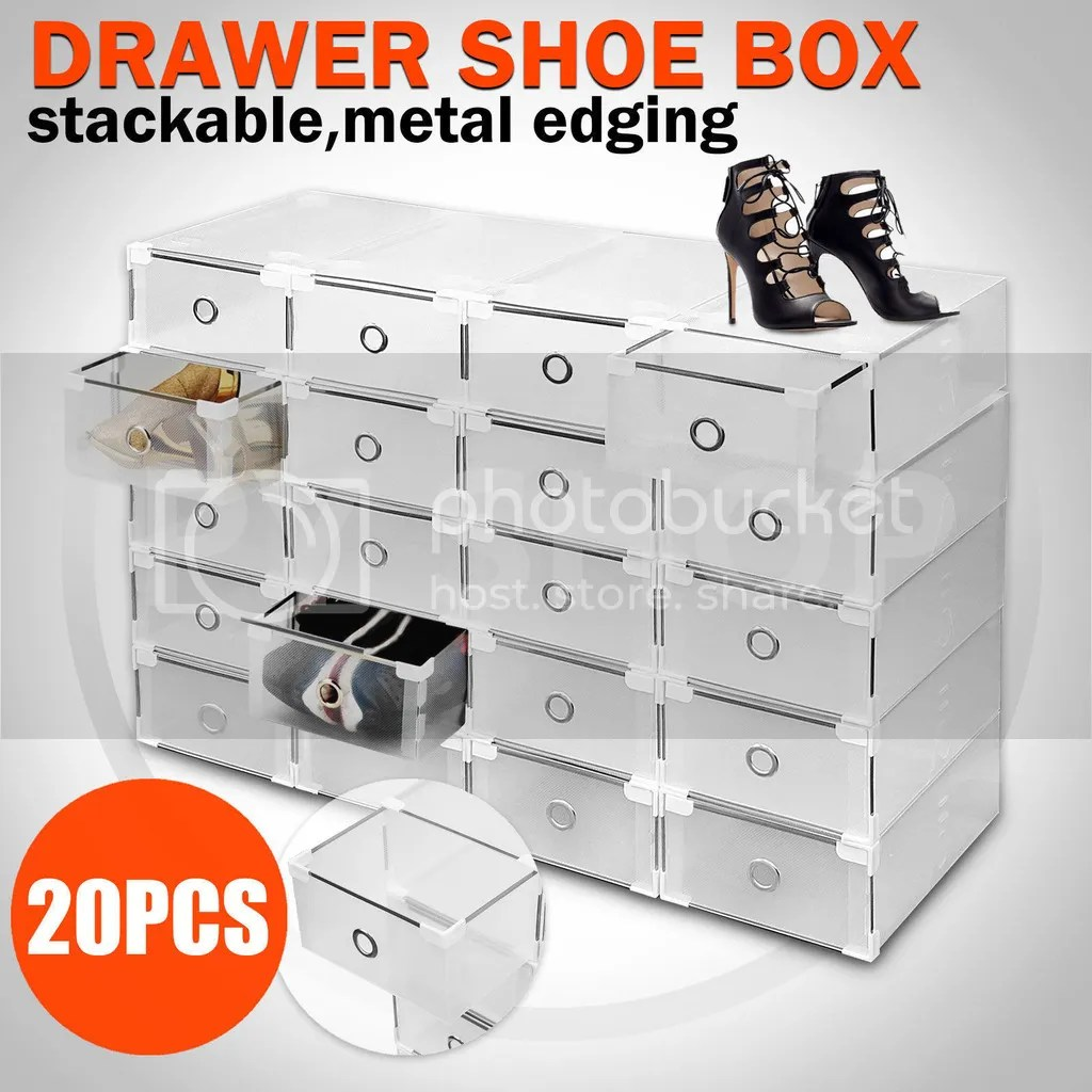Shoe Box Australia 20pcs Storage Clear Drawer Shoe Boxes Stackable Foldable