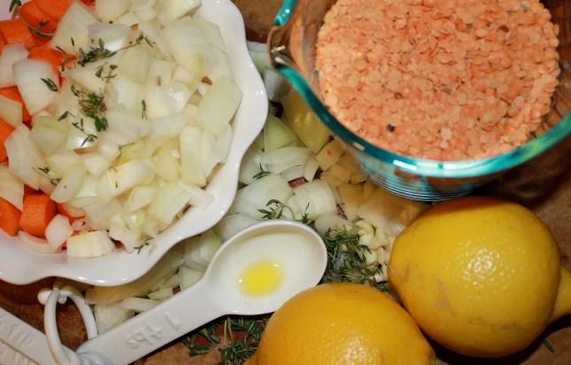vegan red lentil and lemon soup
