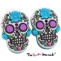 FUNKY LARGE FLOWER SUGAR SKULL STUD EARRINGS QUIRKY CUTE ...
