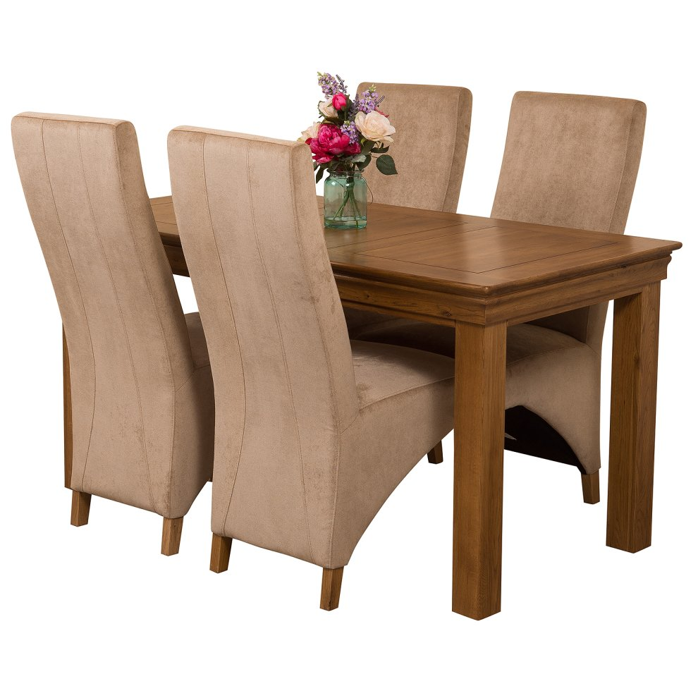 Dining Room Furniture Rustic French Chateau Rustic Solid Oak 150cm Dining Table With Lola Fabric Dining Chairs