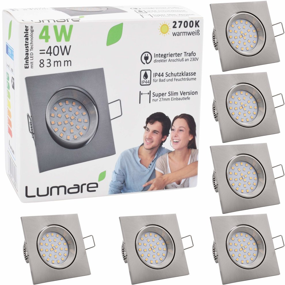 Ip44 Schutzklasse 6x Lumare Led Recessed Spot Extra Flat 4w 230v Ip44 Exchangeable Bulbs 400lm Swiveling Warm White For Wet Room And Living Room Mini Recessed