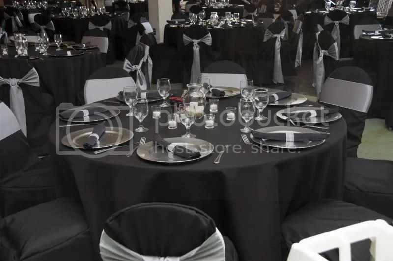 F S Wedding Items Black Tablecloths Silver Chargers