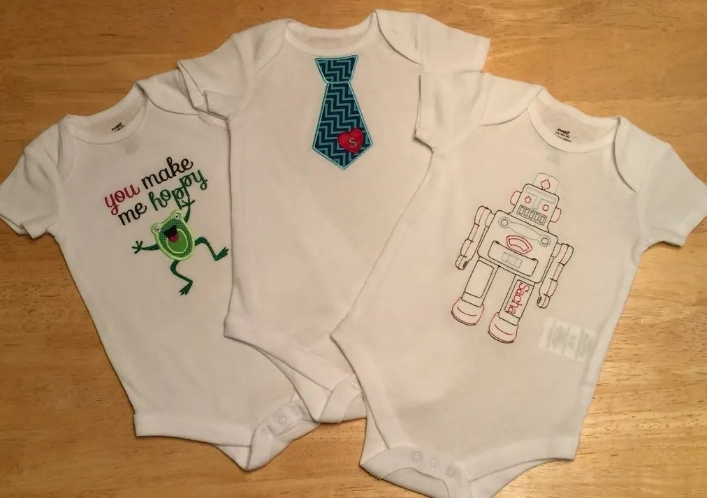 With Glittering Eyes Embroidered Onesie Tutorial Personalized Baby - onesies designs