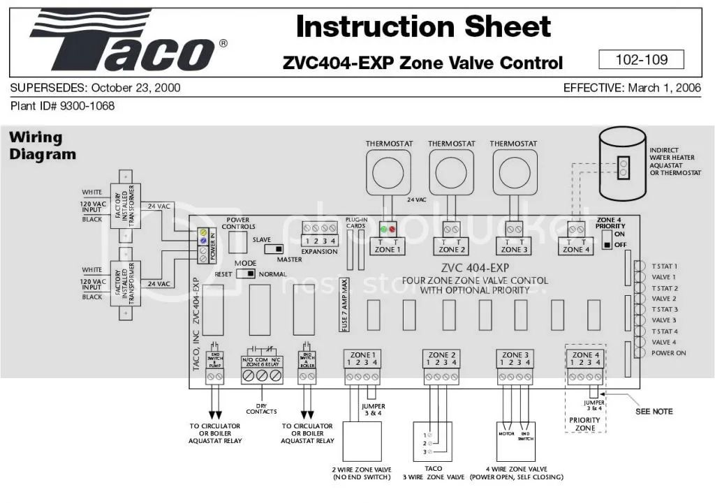 taco zvc404 wiring for c wire thermostat