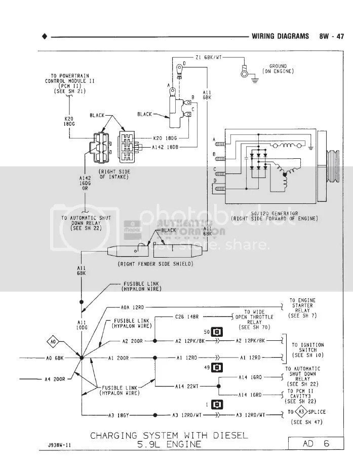 92 Dodge 5 9 Cummins Fuse Link Wire circuit diagram template