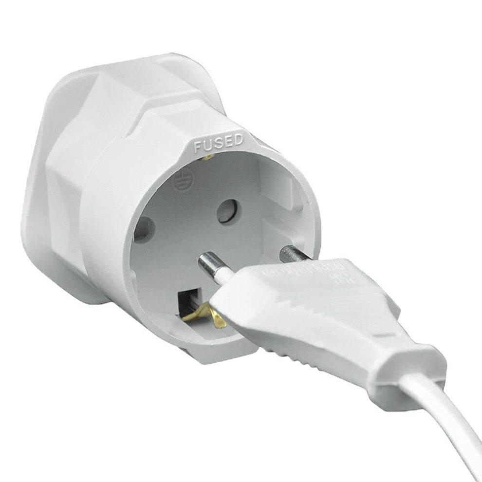 Travel Adapter Eu To Uk Gadgets Hut Uk 2 X Schuko Style Socket European 2 Pin To Uk 3 Pin Ac Mains Power Travel Visitor Adaptor White