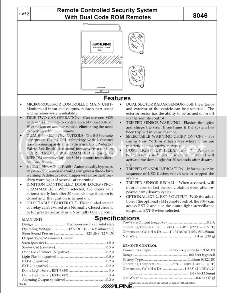 Alpine Car Alarm Wiring Diagram Diagrams Engine Relay Viper