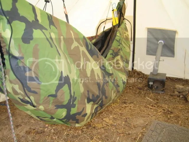 Canvas Wedge Hot Tent With A Hammock