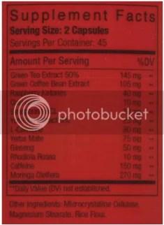 tea rexx extreme ingredients