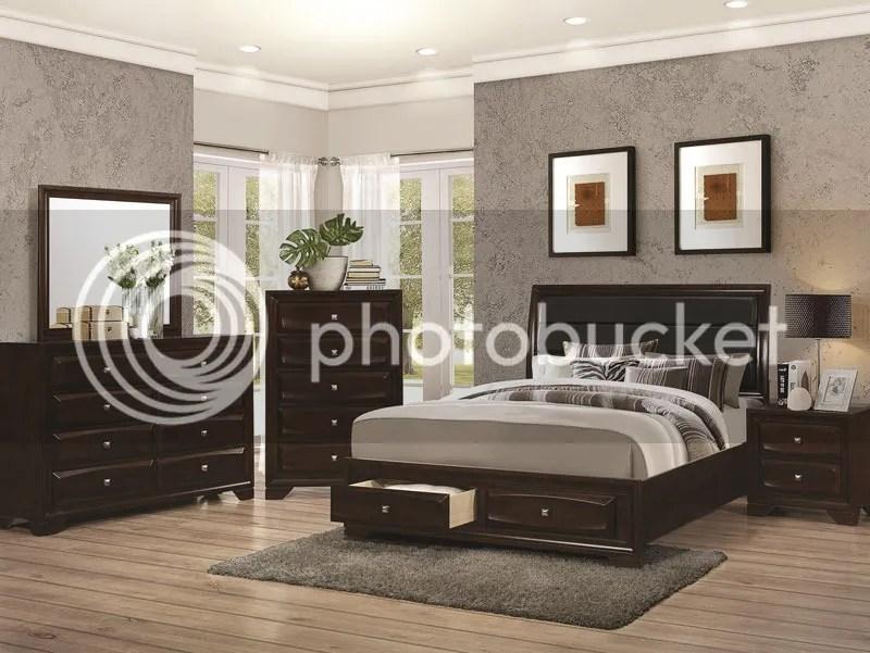 MEDFORD 5 piece Modern Dark Brown Bedroom Set w/ Queen Size Platform
