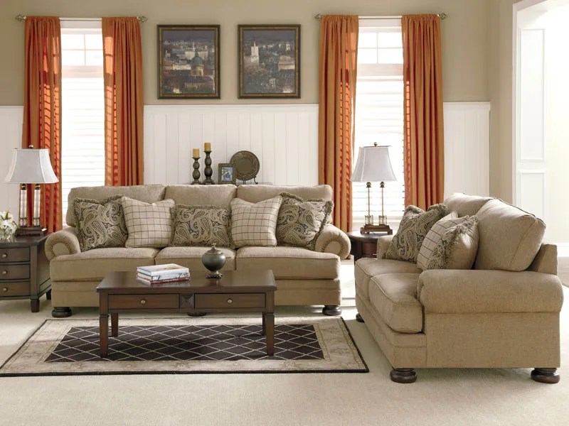Joyce - Traditional Tan Oversized Chenille Sofa Couch Set Living - oversized living room sets
