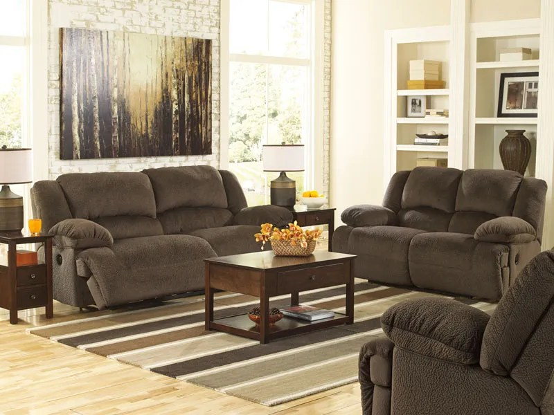 Avery - Brown Microfiber Power Recliner Sofa Couch Set Living Room - living room sets with recliners
