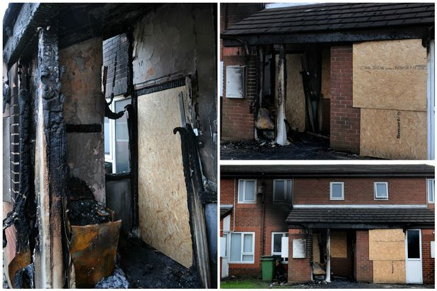 Woman and young children escape blaze which destroyed their home in
