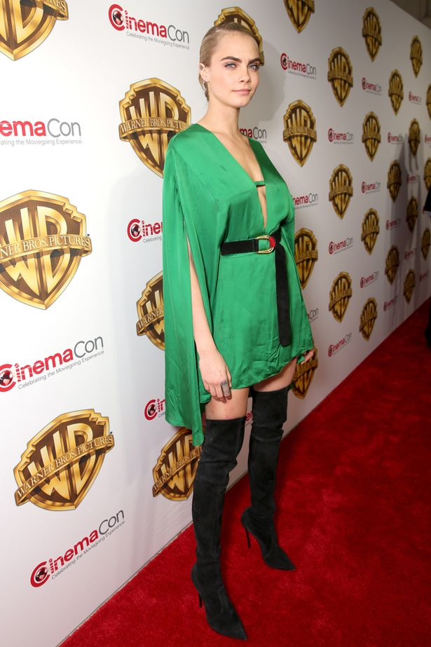 Cara Delevingne Looks Gorgeous In Slinky Green Dress And