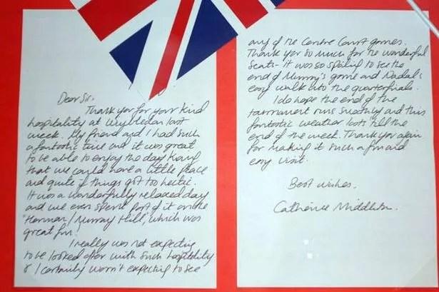 Kate Middleton\u0027s thank-you note to Wimbledon chiefs - Mirror Online