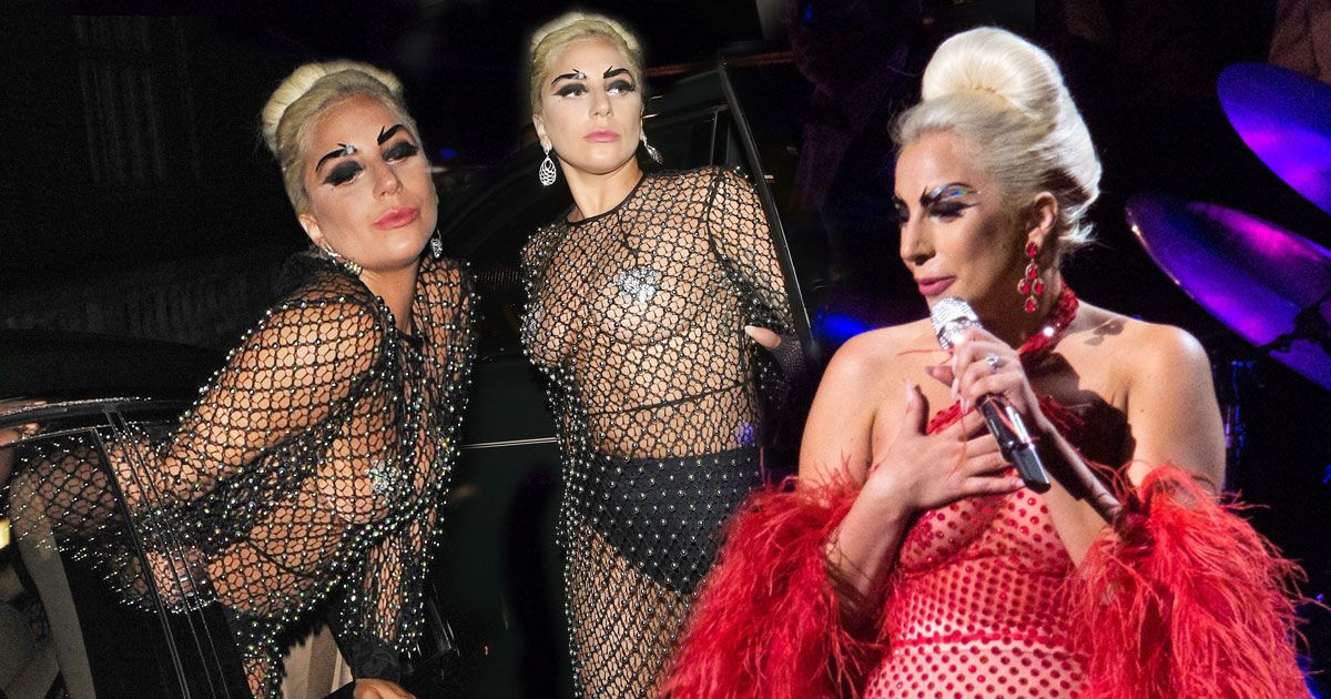 Lady Gaga Flashes Everything In Net Dress And Nipple