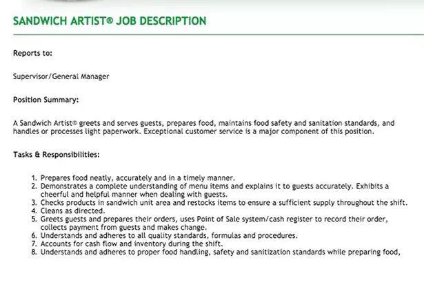 subway job description resume