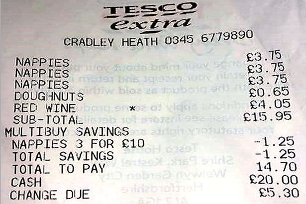 Receipt Found In Tesco Car Park Perfectly Sums Up Life Of