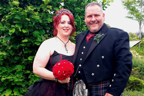 Couple lose so much weight they can BOTH fit into wedding dress at