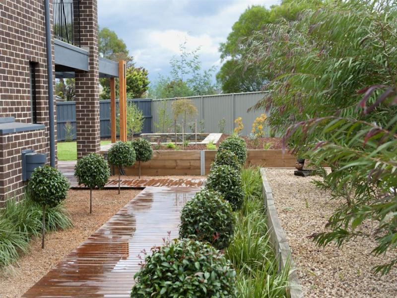 australian native garden design using pebbles with deck u0026 hedging