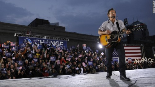 Springsteen performs at a rally for then-presidential candidate Barack Obama in Cleveland on November 2, 2008, two days before the election.