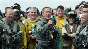 "President George W. Bush displayed the ""git 'er done"" attitude on an aircraft carrier in 2003, where he declared ""Mission Accomplished"" in Iraq."