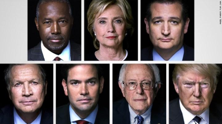 Ben Carson, Hillary Clinton, Ted Cruz, John Kasich, Marco Rubio, Bernie Sanders and Donald Trump