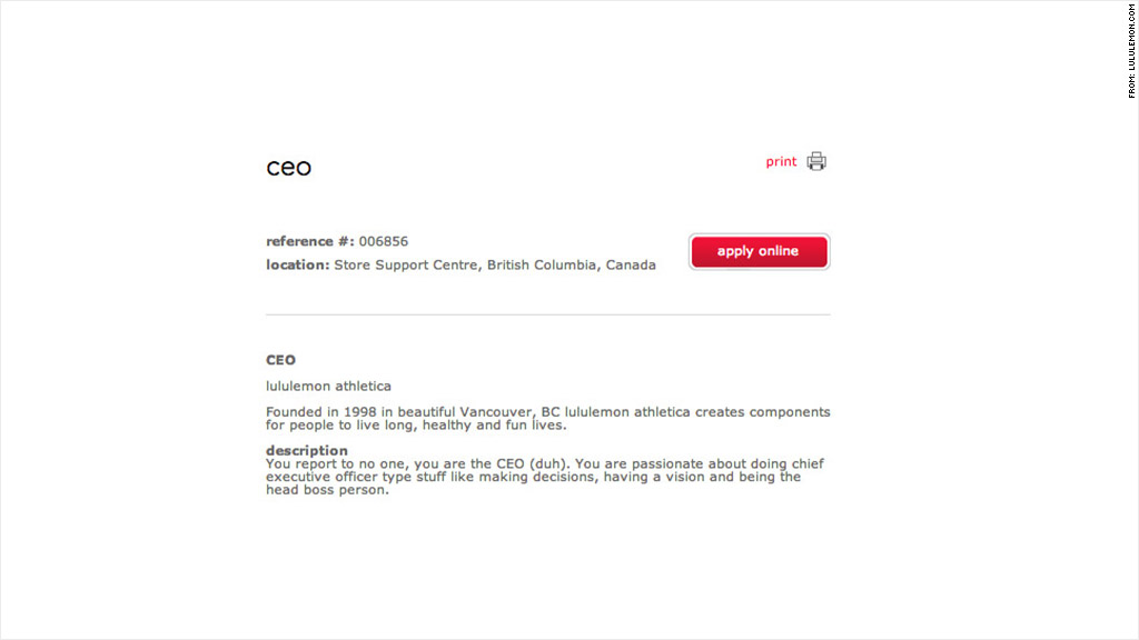 Lululemon\u0027s fake CEO job posting gets 160 applications
