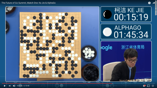 Go match one Ke Jie versus AlphaGo