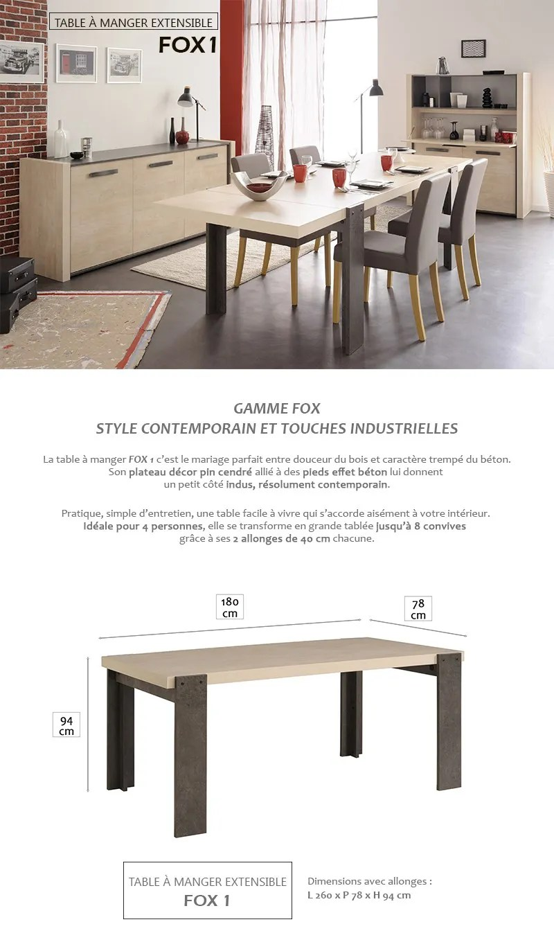 Table à Manger Design 8 Personnes Fox Table à Manger Extensible 8 Personnes 180 260x94 Cm Décor Pin