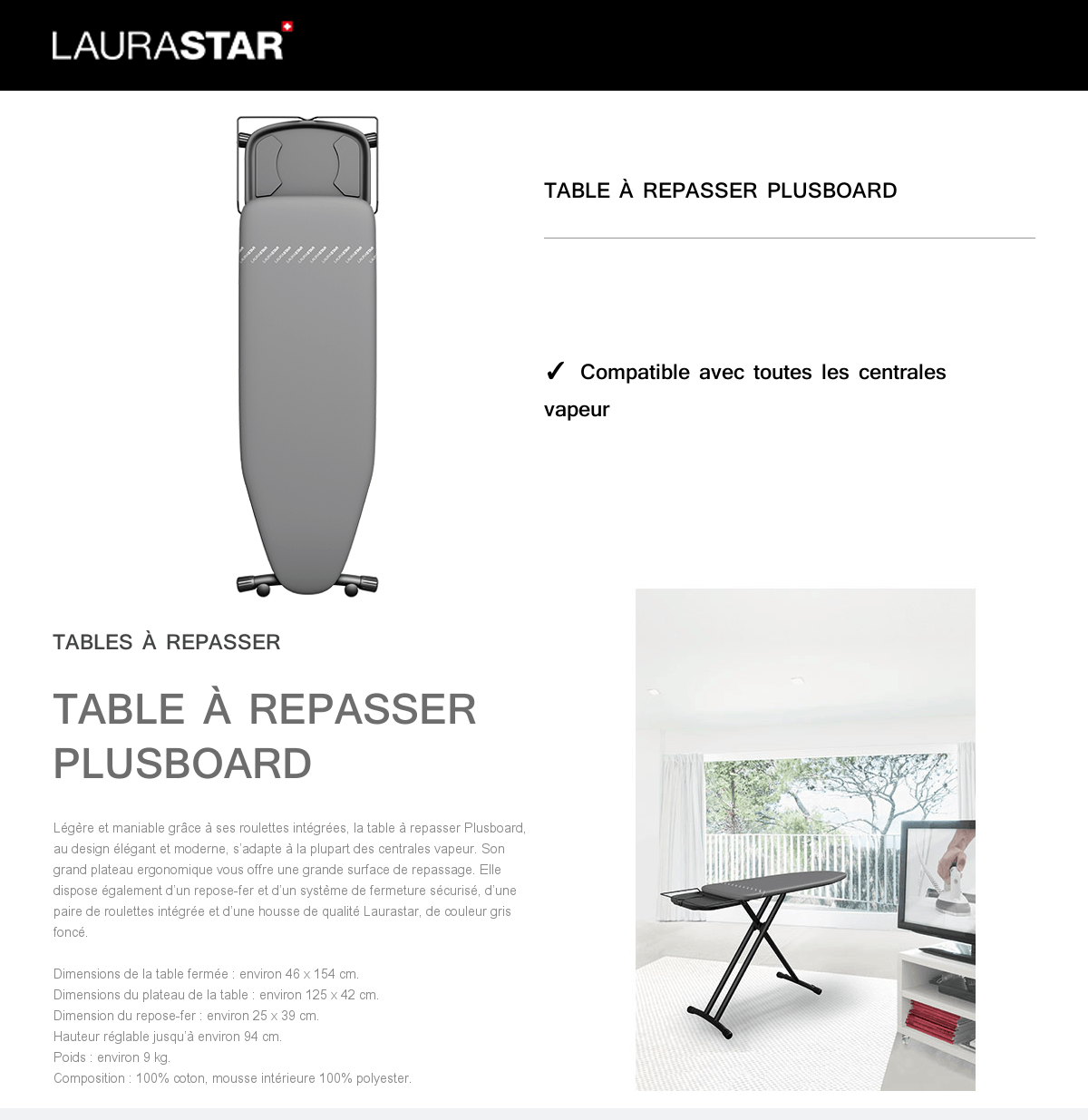 Table Repassage Centrale Vapeur Laurastar Table à Repasser Plusboard Gris Achat Vente Table