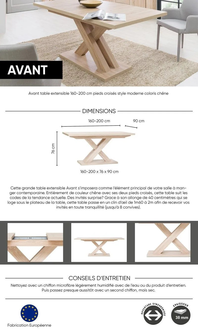 Table Pied Central Extensible Avant Table Extensible Mélaminé Style Contemporain Pieds Central