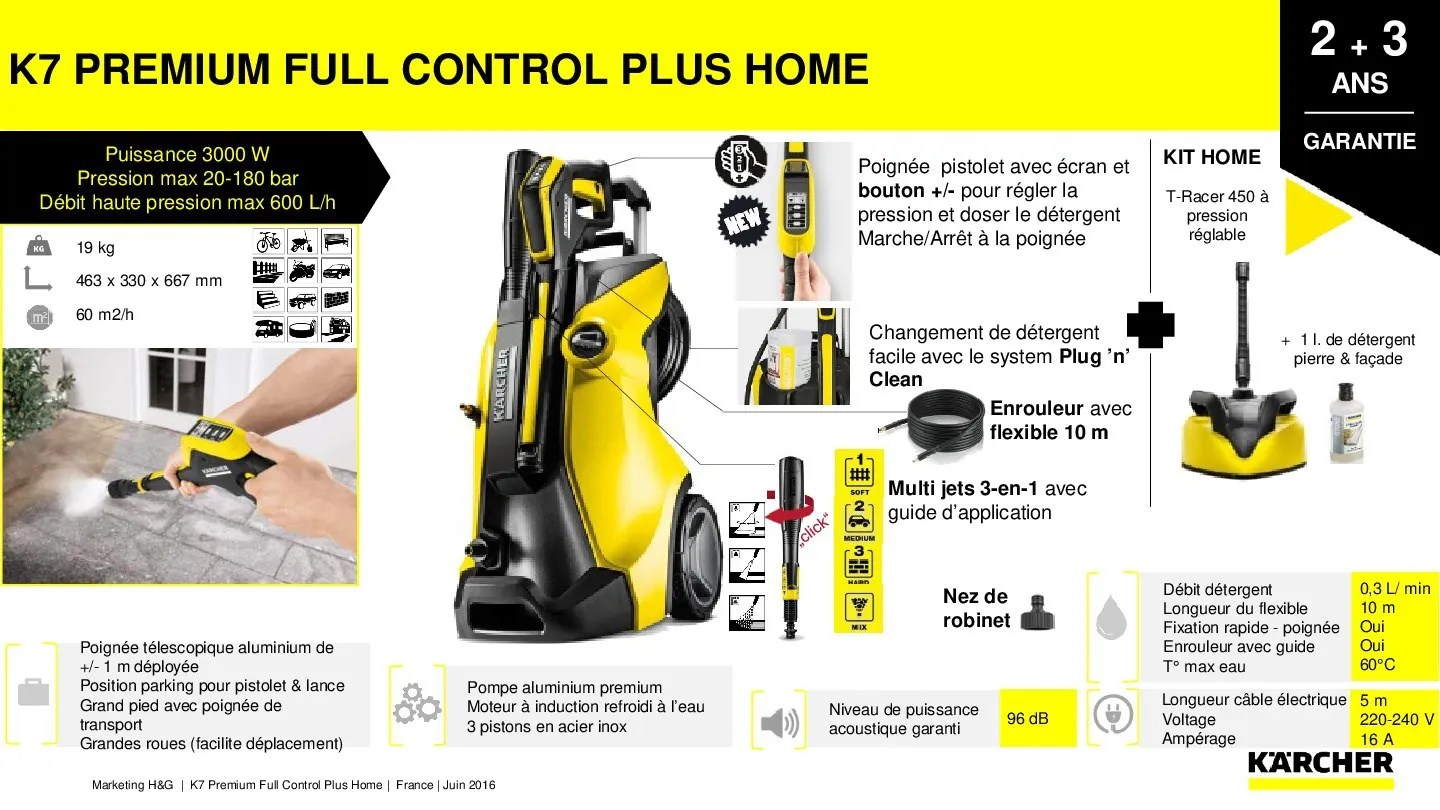 Karcher K7 Premium Full Control Home KÄrcher Nettoyeur Haute Pression K7 Premium Full Control Plus Home 3000 W