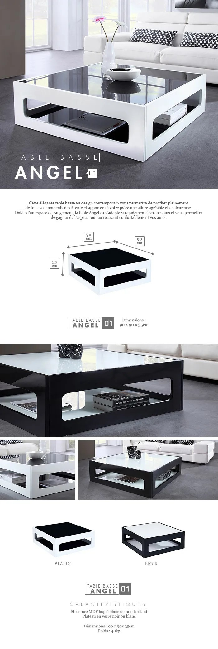 Table Basse Laquee Blanc Angel Table Basse Carrée Style Contemporain Laquée Blanc Brillant