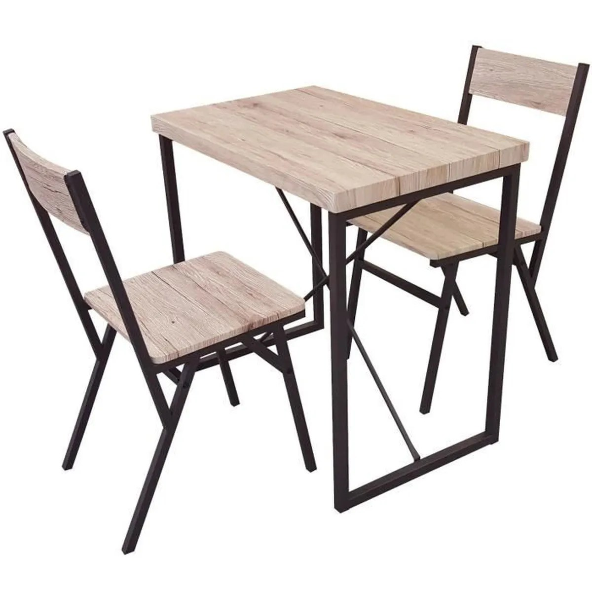 Table 2 Chaises Ensemble Table Restaurant Bar Appoint 2 Chaises Industriel Bois Metal Desserte Loft