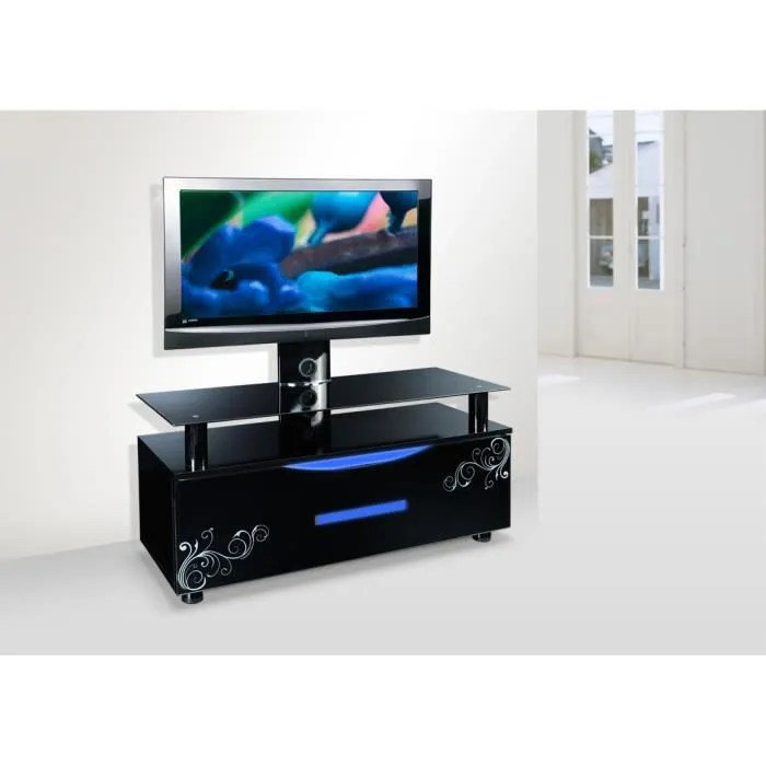 Support Mural Tv Conforama Meuble Tv Design Noir Led Avec Support Tv Pivotant - Achat