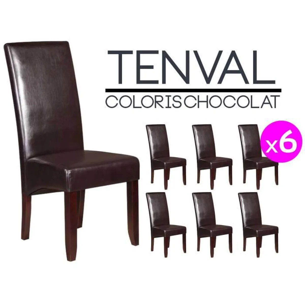 Lot De 6 Chaises Marron Tenval Lot De 6 Chaises Marron