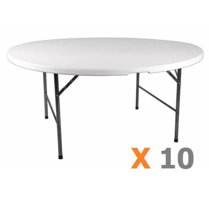 Table Pliante 180 10 X Table Ronde 160 Cm Pliante - Achat / Vente Table De