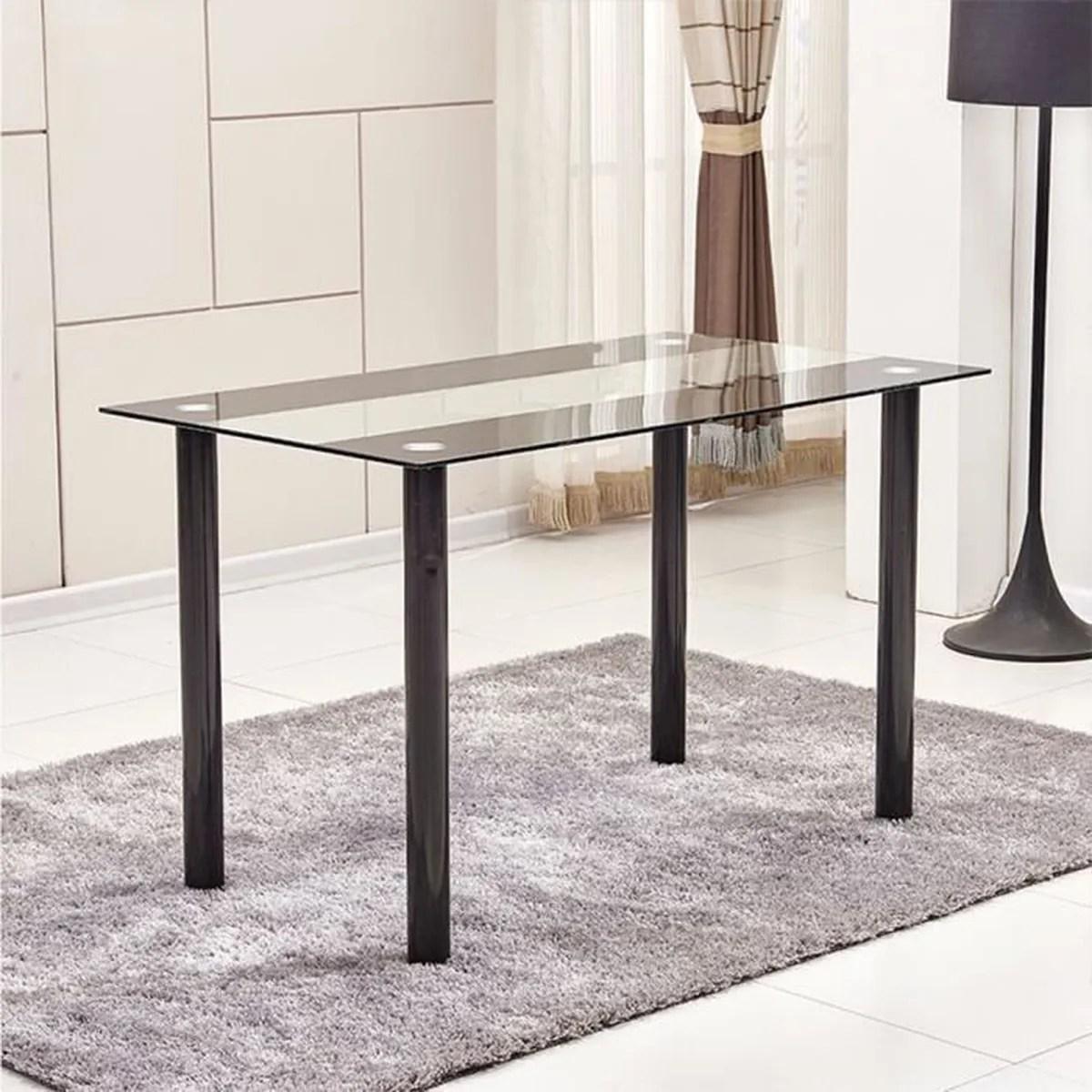 Table à Manger En Verre Métal Noir Table De Repas Pour Maison 120 60 75cm 2  Colis