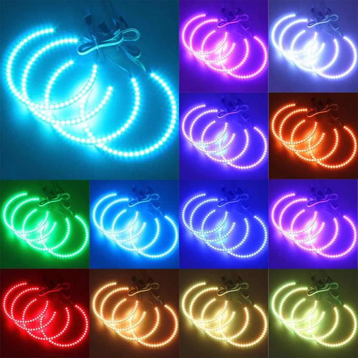 Küchenlampe Neon Ring 4x Angel Eyes 5050 Led Rgb Ring Feux Lampe Remote Pour Bmw E36 E38 E39 E46 M3 Nf