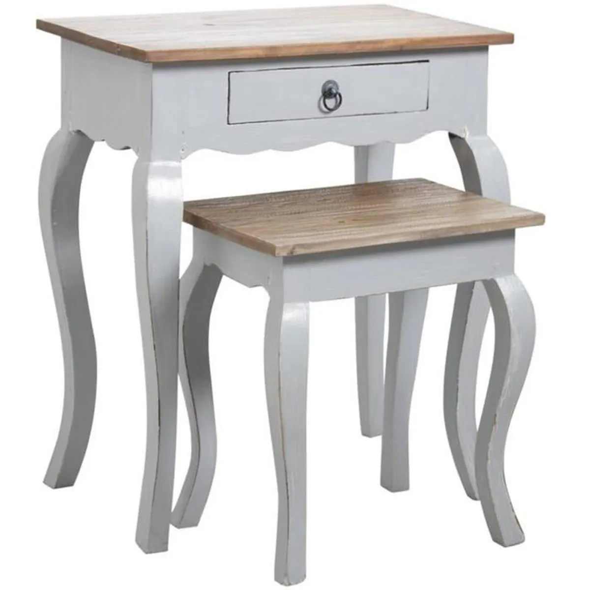 Table Gigogne En Bois Lot De 2 Tables Gigognes En Bois Gris Antique
