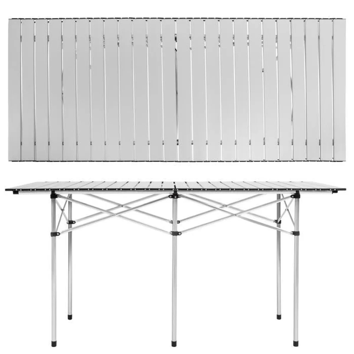 Table Valise + 4 Tabourets Tectake Table Pliante De Camping 4 à 6 Places 140 Cm X 70 Cm X 70 Cm En Aluminium Sac De Transport