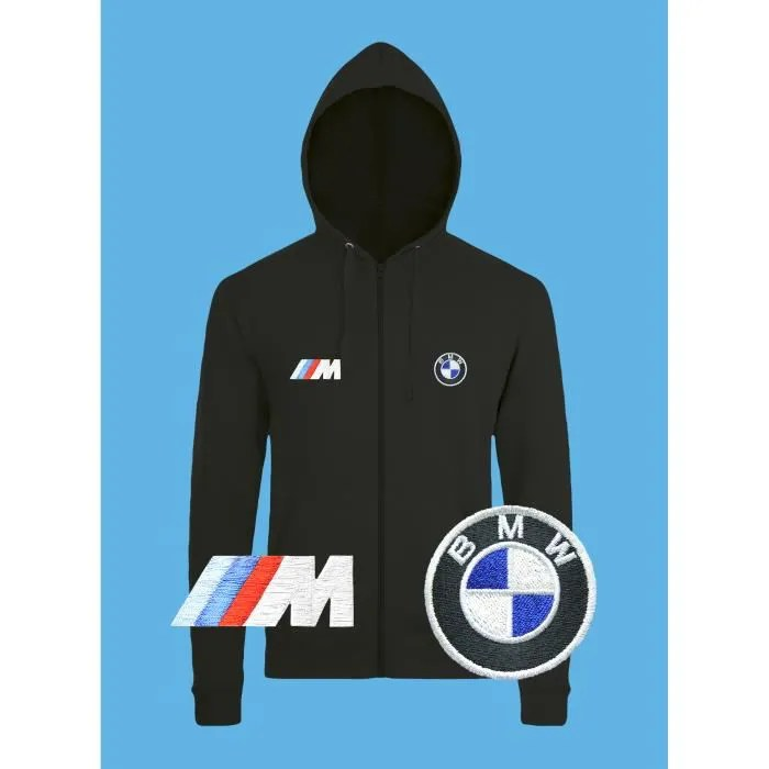 Meuble Tv 130 Bmw M Power Sweat à Capuche Pull Zippé Logo BrodÉ Noir